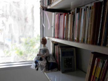 """""""B. Praha"""" mirando por la ventana de mi biblioteca"""